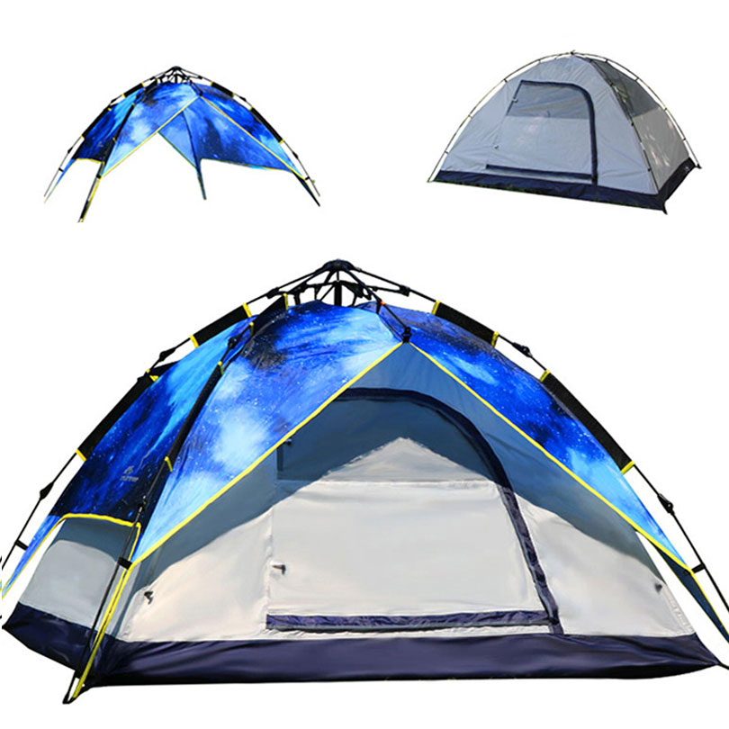 Waterproof 4 Season Camping Tents Quick Opening 3-4 Person Tent Durable 190T Polyester Fabric Double Layer Outdoor Camping Tent haas