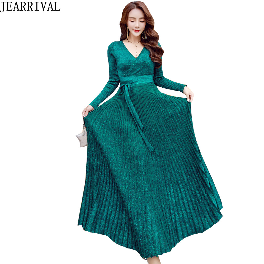 2018 New Fashion Long Knitted Winter Dress Women Sexy V-Neck Full Sleeve Solid Color Pleated Maxi Party Dresses Vestido De Festa женское платье new brand moda vestido long maxi dress