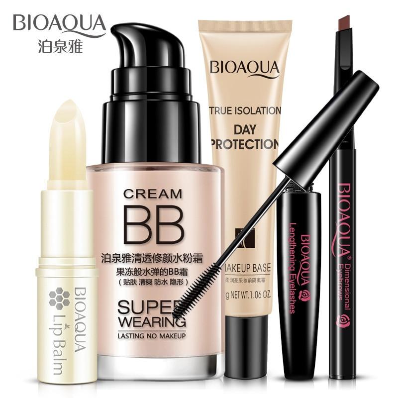 5pcs/set BIOAQUA Cosmetics Makeup Set Lip Balm BB Cream Eyebrow Pencil Mascara Cream Beauty Gift Sets Women Gifts Set Skin Care