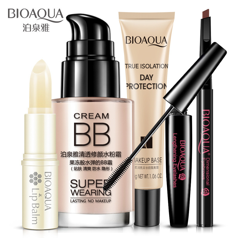 5pcs/set BIOAQUA Cosmetics Makeup Set Lip Balm BB Cream Eyebrow Pencil Mascara Cream Bea ...
