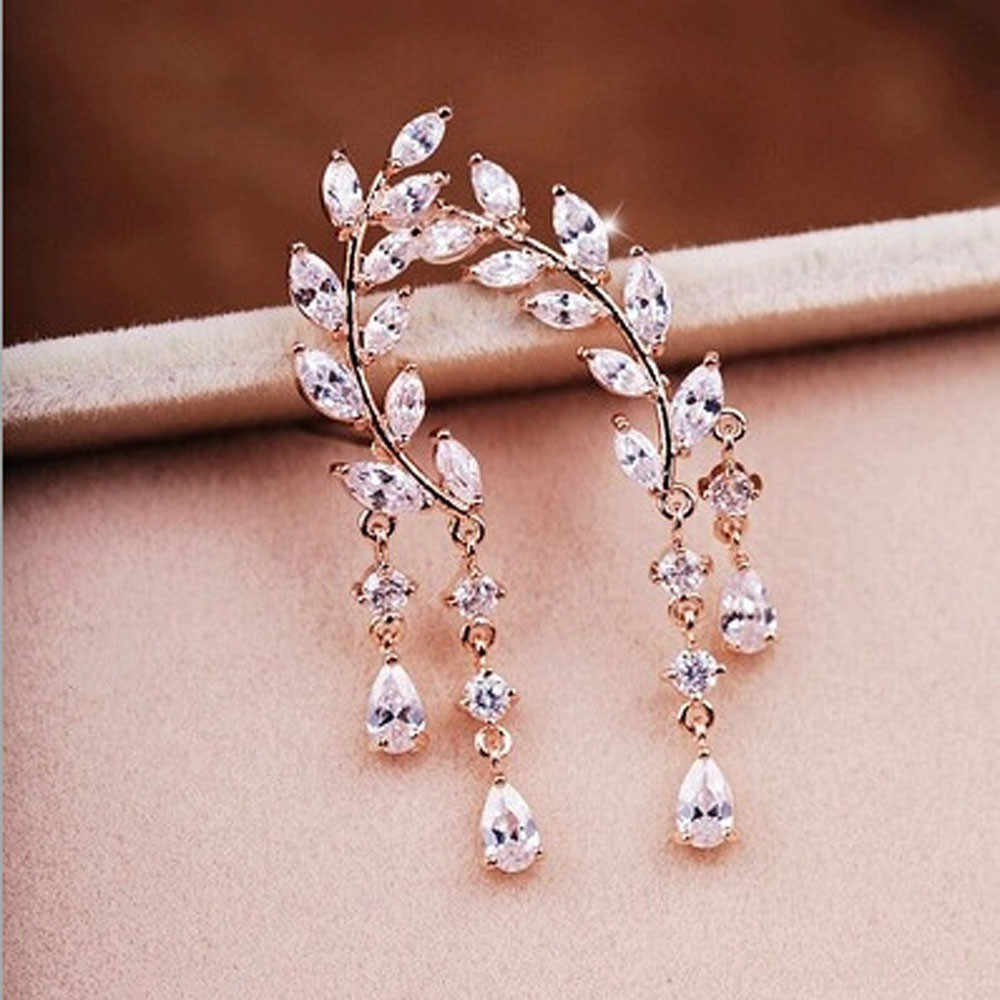 1Pair Stud Earrings Women Fashion Crystal Rhinestone Leaves Tassel Ear 10.29