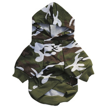 Green Camo Dog Hoodie Small Coat Jacket Spring Autumn Pet Puppy Clothes For Dogs