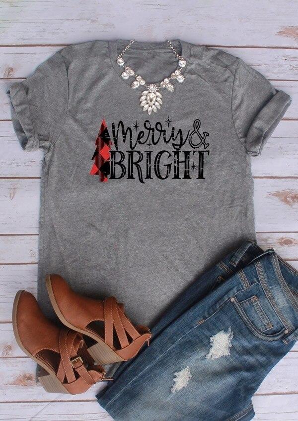 2018 Vánoční Dámské Triko Krátký rukáv Roztomilé Dámské tričko Merry & Bright O-Neck Tričko Grey Casual Dámské Tops Tee aktivní tričko  t