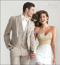 2016 – Customized Made Beige Two Buttons Groom Tuxedos Notch Lapel Greatest man Groomsman Males Wedding ceremony Fits Bridegroom (Jacket+Pants+Tie