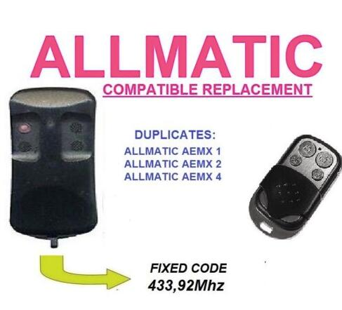 ALLMATIC AEMX1, AEMX2, AEMX4 replacement remote control free shipping
