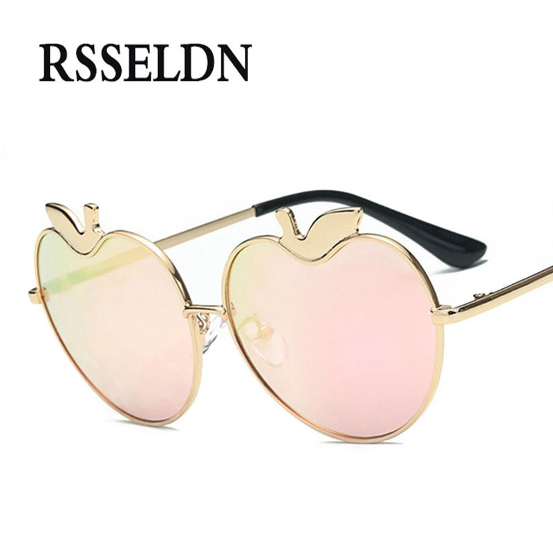 RSSELDNR Fashion Apple Pink Heart Shaped Sunglasses Women Metal Reflective Lens 2018 Vintage Women Men Sun glasses UV400 Party