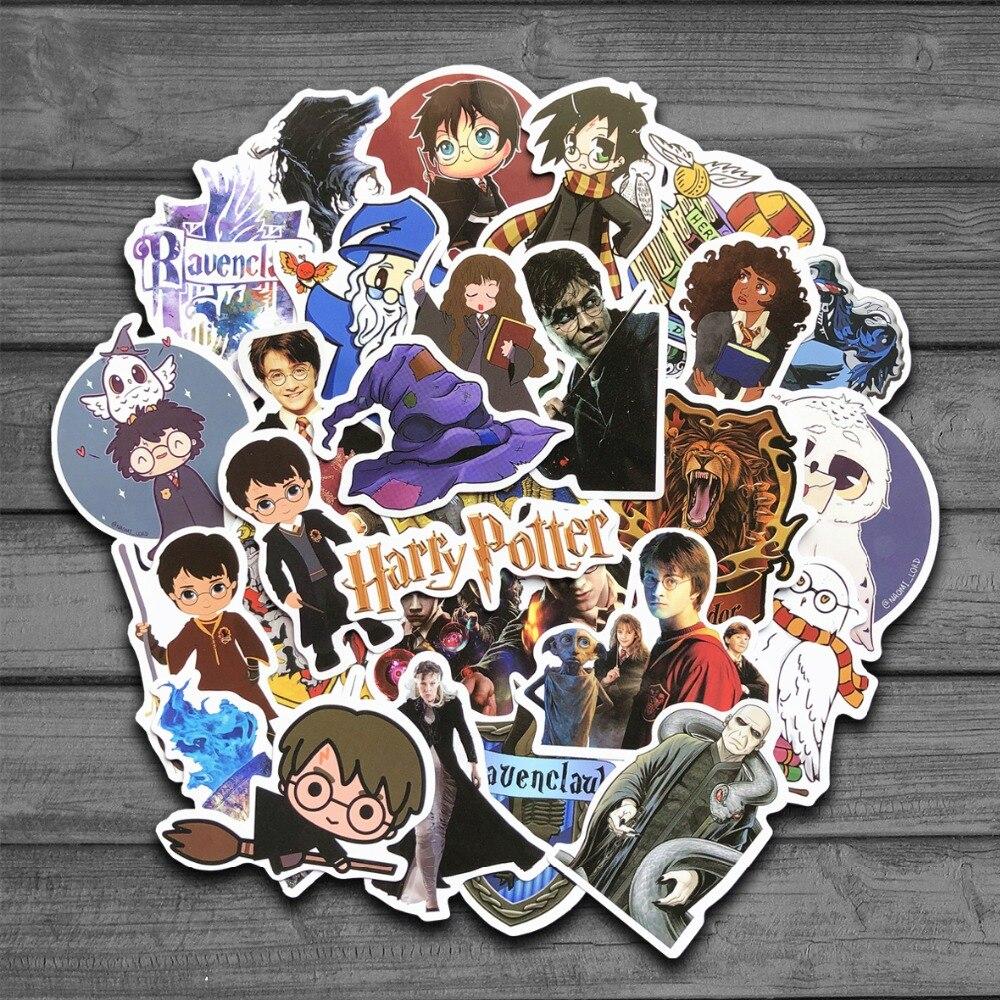 50pcs Harry Potter Hogwarts Cartoon Snowboard Laptop Stickerskids Waterproof Diy Decals Sticker For Fridge Suitcase Stationery