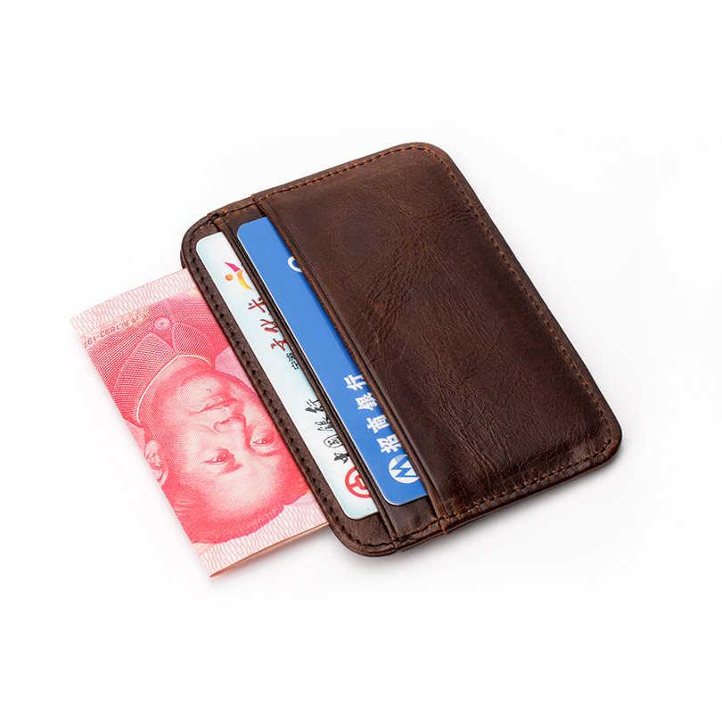 Cartera de tarjeta Simple y priactica cuero genuino cuero auténtico pequeño monedero de tarjeta para hombre dinero bolsa ranuras para tarjetas
