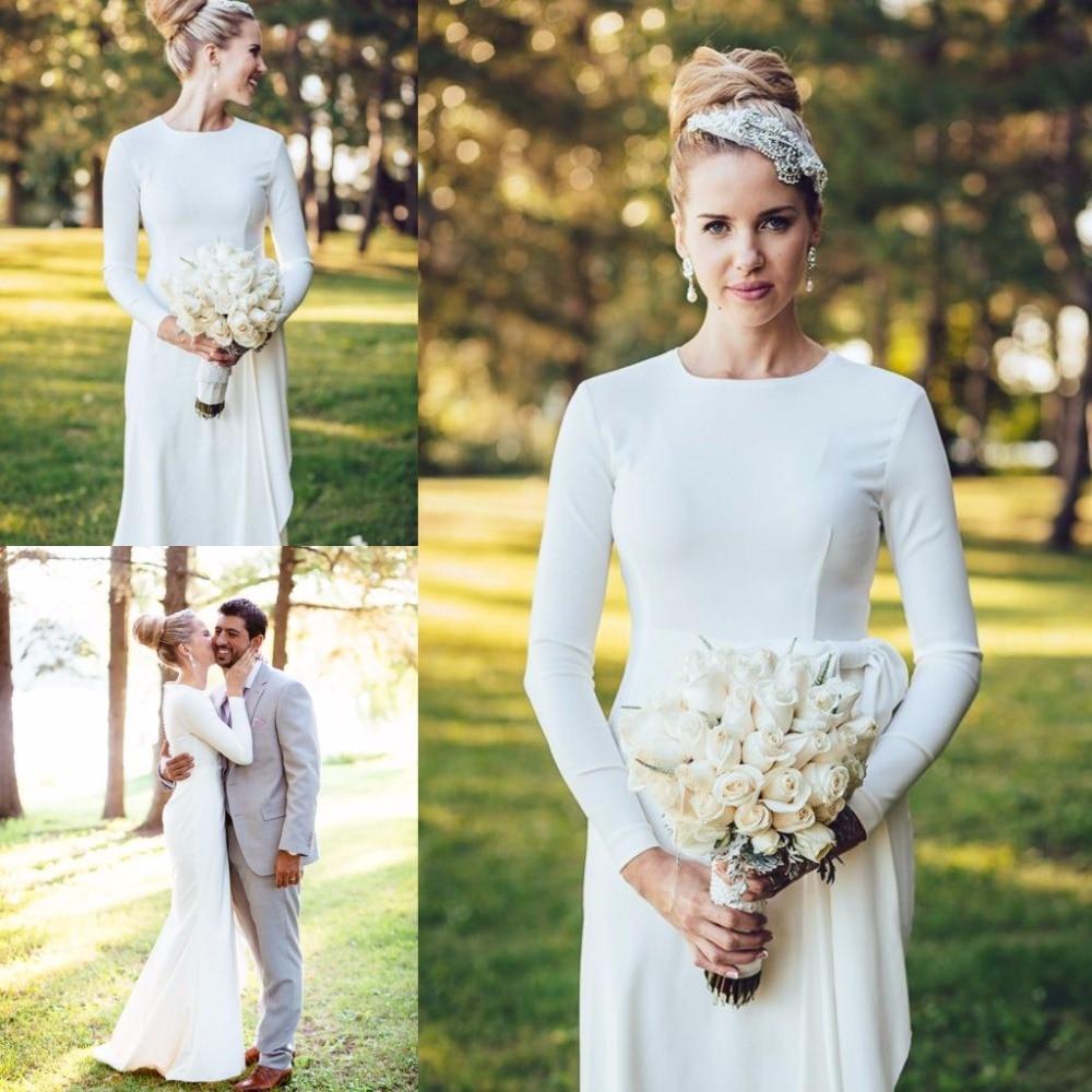 Elegant Simple Wedding Dress High Neck Long Sleeve Mermaid Floor ...