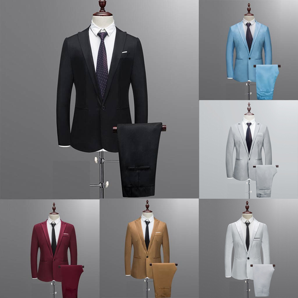 Autumn Suit Set 3XL Men's NEW Fashion Smart Casual Slim Button Suit Solid Blazer Business Wedding Host Show Coat & Pant Freeship