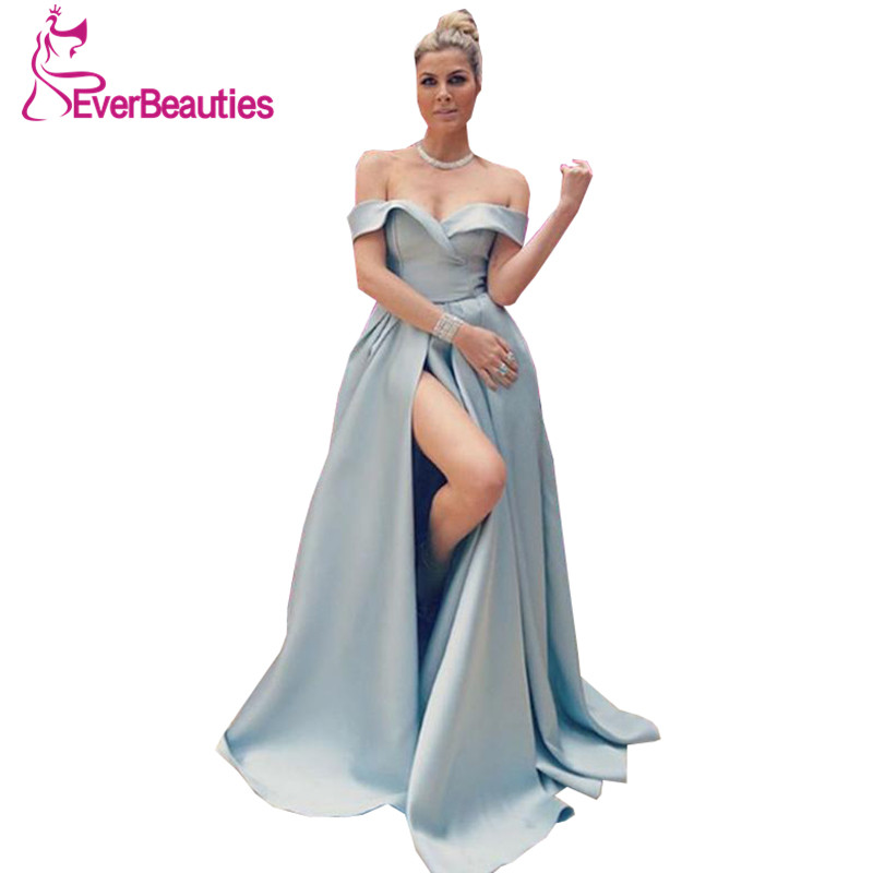 Silver Satin Off Shoulder Elegant Evening Dress Long 2019 Satin Split Robe De Soiree Formal Party Gowns Abiye Gece Elbisesi in Evening Dresses from Weddings Events