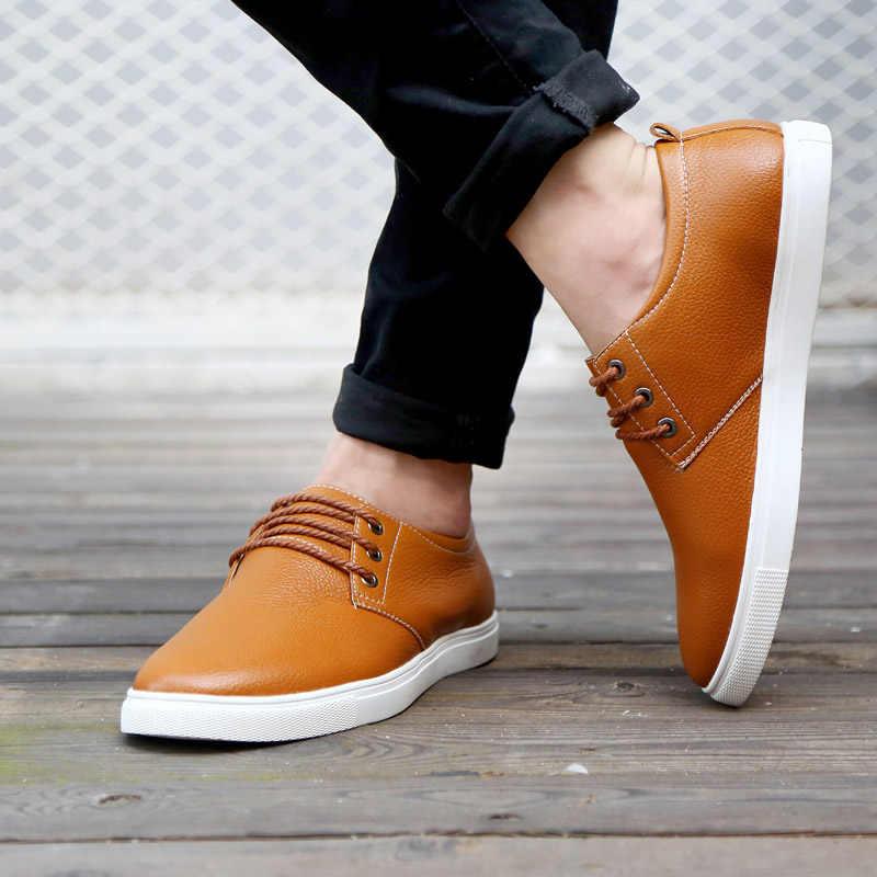 חדש מותג אביב סתיו נוח גברים דירות נעלי גברים נעלי אופנה עור מקרית דירות נעלי גבר נעלי ספורט גודל 38- 49