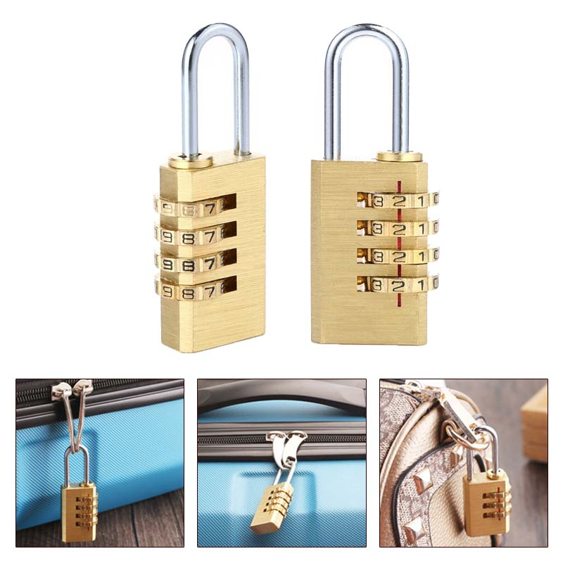 2019 Mini Copper 4 Digits Number Password Code Lock Combination Padlock Resettable For Travelling Bag Door Furniture Accessories