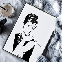 Hepburn silhouette Audrey decorative painting living room paintings characters beautiful wall black and white