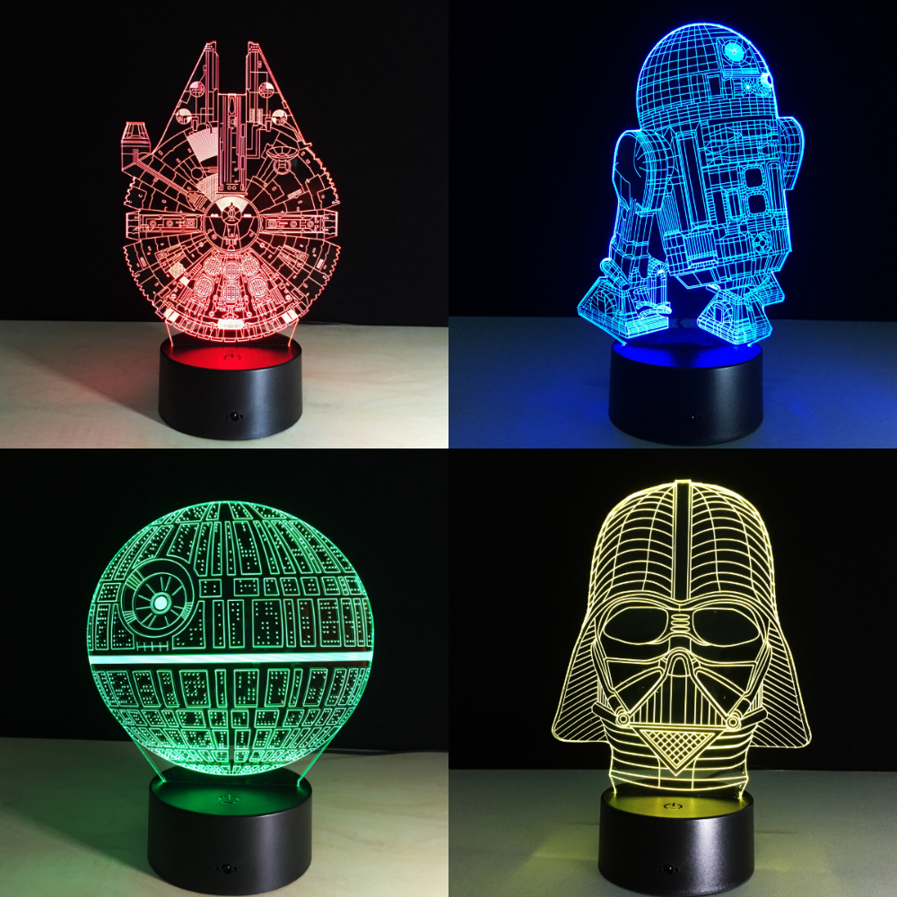 7 Colors 3D LED Lamp Millennium Falcon R2D2 Star Wars Multicolor Night light Luminaria Lighting Kids Toys Child Gift Dropship