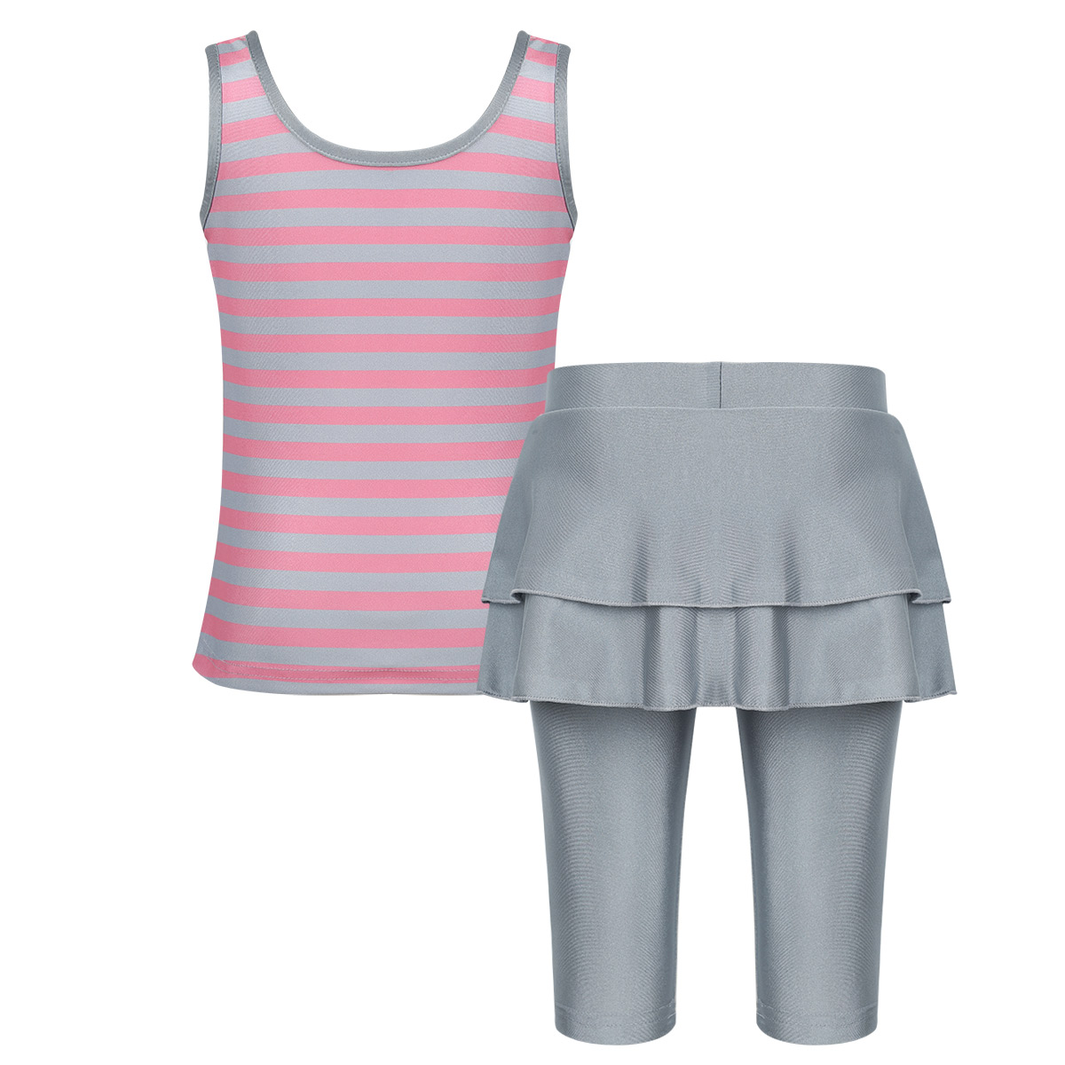 Girls Muslim Swimwears Islamic Children Two-piece Sleeveless Stripe Swimsuits Arab Islam Beach Wear Swim Suits Burkinis Swimwear