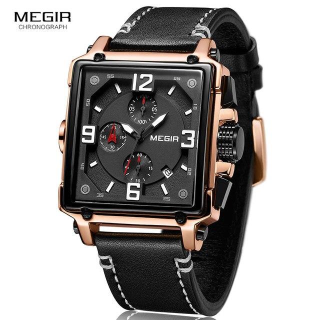 MEGIR Creatieve Vierkante Mannen Kijken Topmerk Luxe Chronograaf Quartz Horloges Klok Mannen Lederen Sport Militaire Horloges