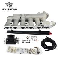 PQY Cast Intake Manifold FOR Nissan 240SX RB25det RB25 Skyline + 80MM Throttle Body + Fuel Rail PQY IM32SL+6980BK+5439BK