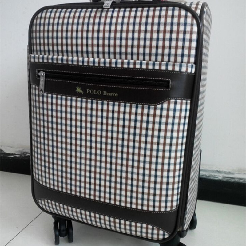 BOLO BRAVE 20 24 inch wheel suitcase PU Commerce Trolley case healthy environmentally luggage bags lattice