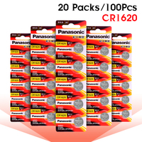 PANASONIC 100Pcs 3V CR1620 LM1620 DL1620 ECR1620 5009LC Lithium Battery Button Coin Cell For LED Lights Toys Watches