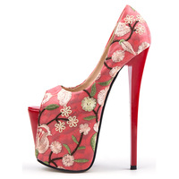 Extreme High Heels 19/22cm Women Pumps Peep Toe Party Wedding Shoes Flower Embroidery Sexy Shallow Platform Shoes Size 34 47