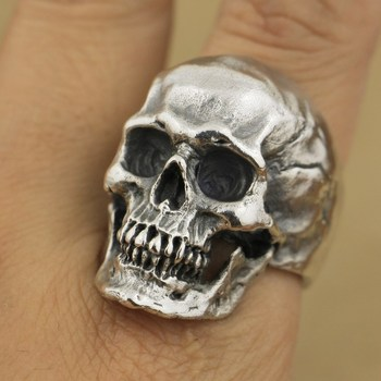 925 Sterling Silver High Detail Skull Ring Mens Biker Punk Ring TA50A US 7~15