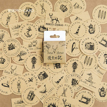 46pcs/pack DIY girls notebook book Stickers scrapbooking retro handbook decoration sticker travel planner bookmark stickers