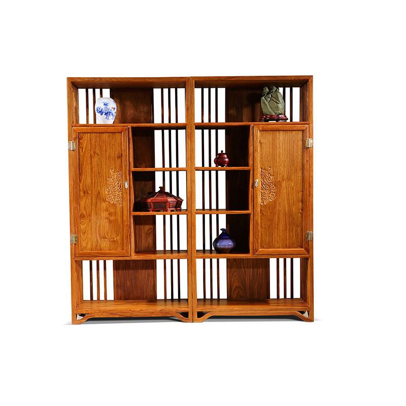 Antique:  Handmade Hedgehog Wood Bookcase Custom Antique Rosewood Shelf Solid Wood Two Door Book Shelf Classical Mahogany Home Furniture - Martin's & Co