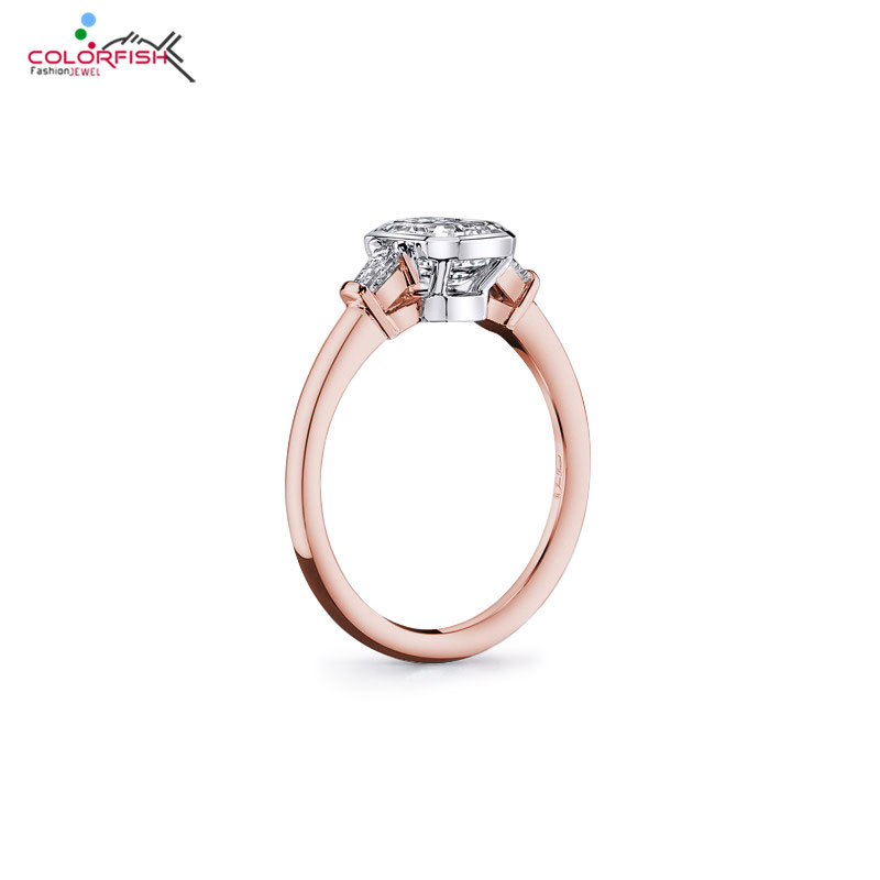 COLORFISH Trendy 3 stone Rings For Women Two Tone 925 Sterling Silver Rose Gold Filled Square
