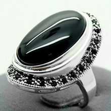 17X30mm Black Agate Oval 925 Sterling Silver Marcasite Ring Size 7/8/9/10
