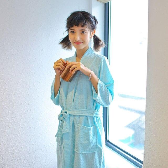 5972d39357 Cotton Towel Bath Robe Dressing Gown Unisex Men Women Waffle Sleep Lounge  Bathrobe Peignoir Nightgowns Lovers