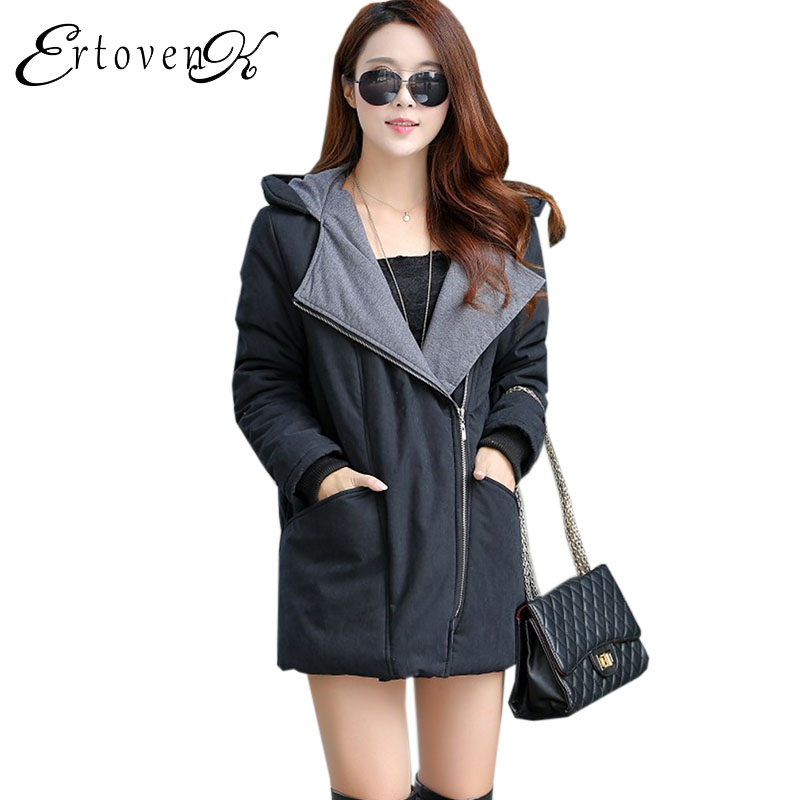 Plus size Women Cotton Padded Coat Long section Winter Loose Female parka 2017 New Thickening warm Clothes Hooded overcoat C187 2017 new autumn winter cotton coats women vintage print long hooded thickening cotton padded jacket warm overcoat plus size z162
