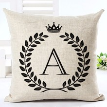 CV Cushion Cover only Letter Alphabet Printed Cotton Linen Pillowcase