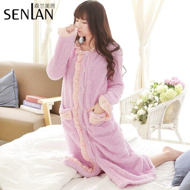 Winter Warm Long Sleeve Women's Robe Sweet Lady's Fleece Flannel Nightgown Free Shipping
