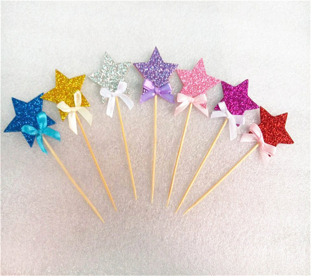 50pcl frozen supplies shining star cupcake topper picks cartoon theme birthday party decorations kids - Party Decoration Stores