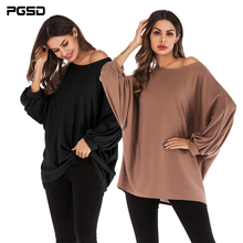 PGSD New Simple Fashion spring big size Women Clothes solid color round collar loose bat sleeves T-shirt female Top Tee Pullover