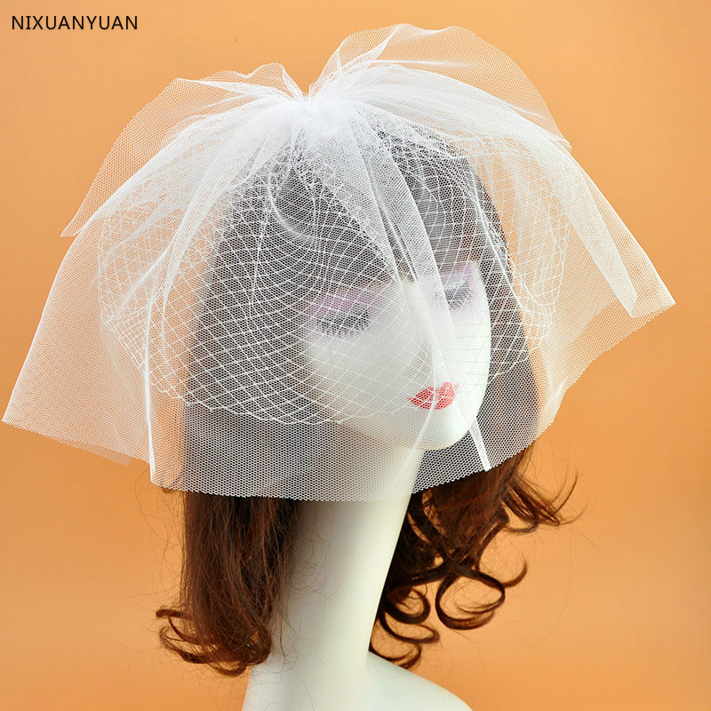 Beautiful Wedding Hat Veils Tulle Adult Bride Hats With Pearls Bridal Short Face Veil Lace Hat Free Shipping