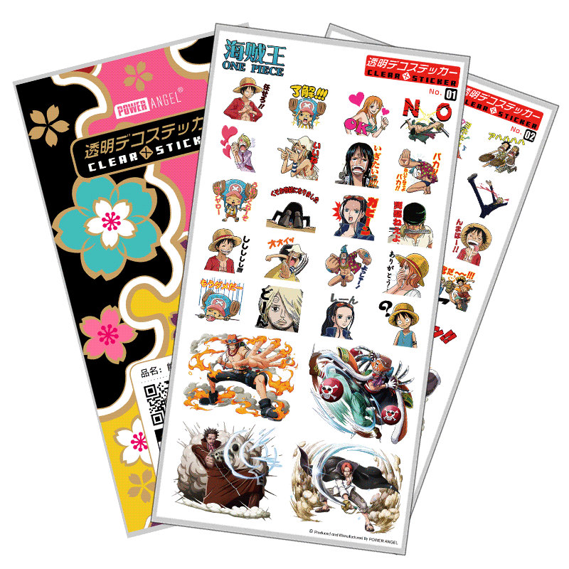 Set Of Stickers Anime One Piece Plastic Stickers Laptop Mobile Phone Book Transparent Sticker Toy For Children