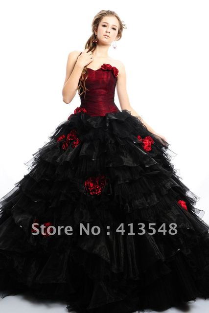 72f0cad3c655 NEW Quinceanera Dresses Exquisite Black Burgundy Ball Gown Net/Tulle Sweetheart  Floor length HandmadeFlower