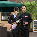 Male Hotel Restaurant Waiter Wear Long Sleeve Waitress Uniform Women Chinese Restaurant Waitress Jacket Waiter Overalls 89