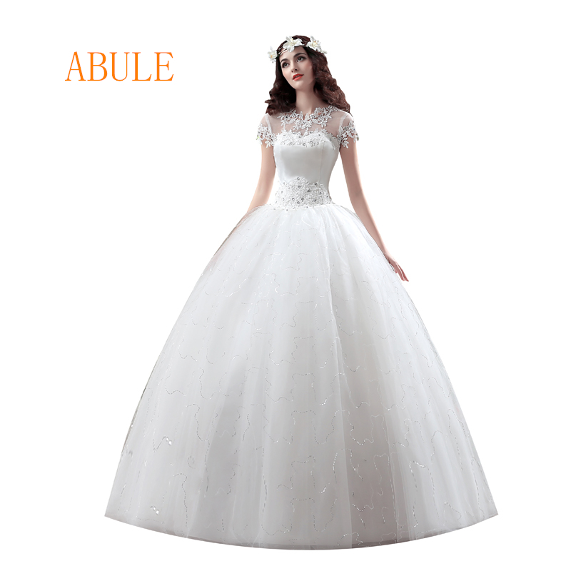 abule wedding dress lace appliques beading crystal tulle sheer wedding gowns cheap vintage Vestido De Noiva Bride dress 2018