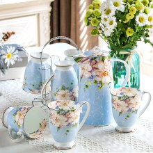 8pcs set, real bone china teapot and chip cup set with steel stander, floral taza cafe tea cup set, termos coffee cup set(China)