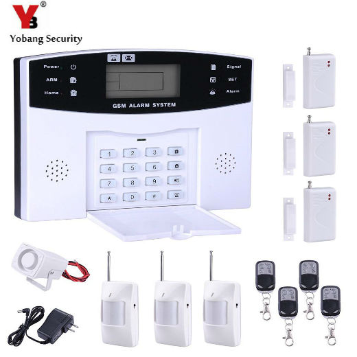 YobangSecurity  Remote Control Voice Prompt Home Security Wireless GSM Alarm System 433MHz Window Security Sensors PIR Detector wireless smoke fire detector for wireless for touch keypad panel wifi gsm home security burglar voice alarm system