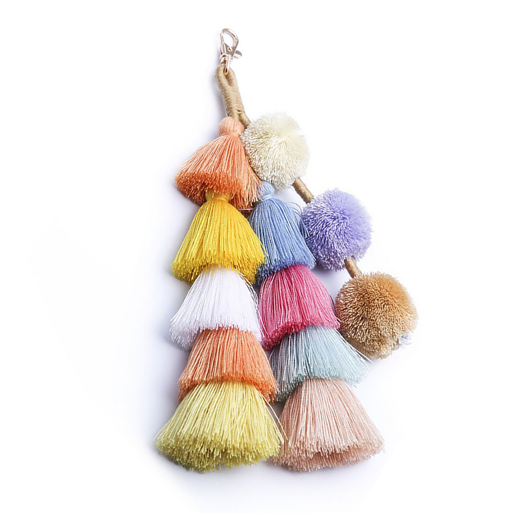 1 Pc Handmade Pom Pom Colorful 4 Layered Tassel Keychain Bag Charms Gradient Colors Key Holder Boho Jewelry Gift For Women