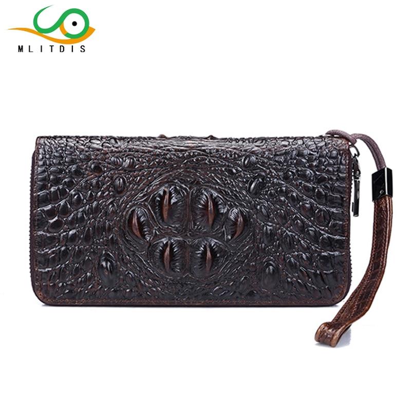 MLITDIS Men Wallets Genuine Leather Purse Business Male Walet Crocodile pattern Multi-Card Bit Long Wallet Clutches Bag Holder