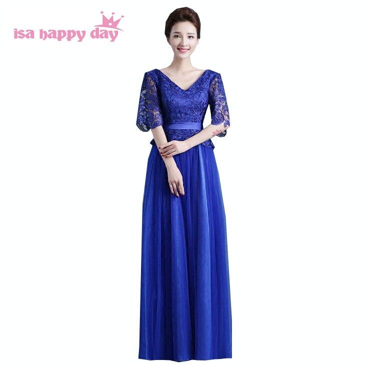161afba6c Hermoso azul real formal largo de dama de honor de encaje de manga de las  mujeres vestidos de fiesta azul tul de color con mangas de china H3051