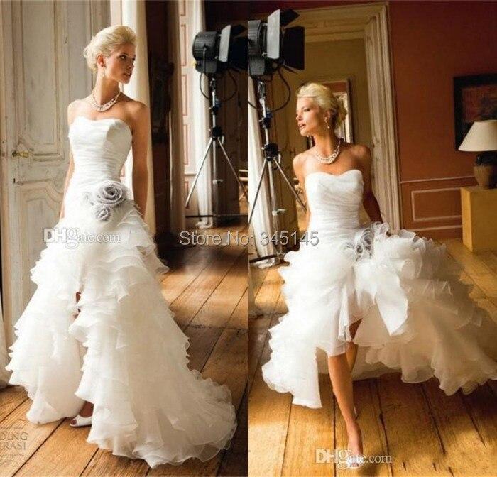 Nouveau bretelles Organza fleurs à la main salut - Lo a - line robes de mariage personnalisé taille Sexy dentelle vendre jusqu'à Hot robes de mariée
