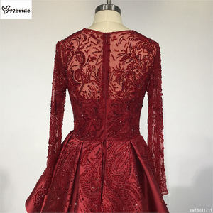 Image 5 - Surmount Customized Sexy Red Dresses O neck Long Sleeves Skirt with Slit Train Red Evening Gown vestidos de festa Prom Dresses