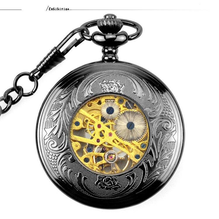 Relógio de Bolso Mecânico Colar Relógio de