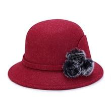 Brand Winter Autumn Felt Fedoras womens 2019 new Basin cap Cap Wide Brim Ladies Top hat church party Dome